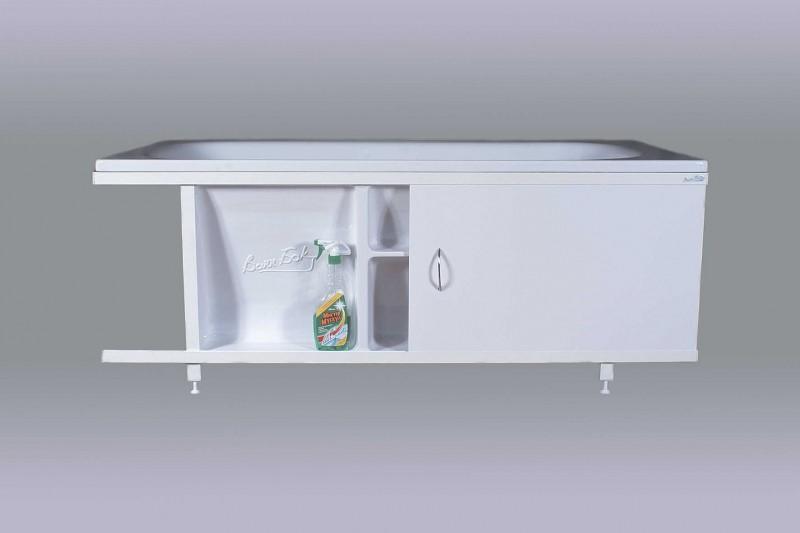Экран для ванной 170 см раздвижной с полками